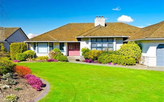 Wallpaper Mansion, house, lawn, garden