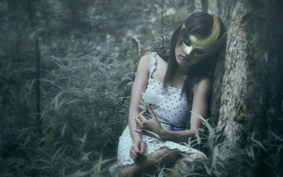 Wallpaper Mask girl in forest, sleep