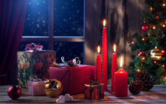 Wallpaper Merry Christmas, Happy New Year, gifts, candles, fire