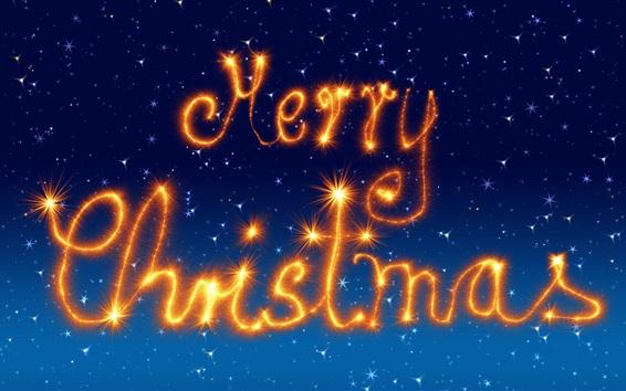 Wallpaper Merry Christmas, fireworks, sparklers, blue background