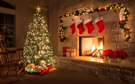Wallpaper Merry Christmas, home, fireplace, tree, gifts, decorations