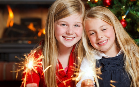 Wallpaper Merry Christmas, two little girls play the sparklers, happy children