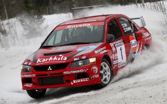Wallpaper Mitsubishi Lancer Evolution red car, racing, snow
