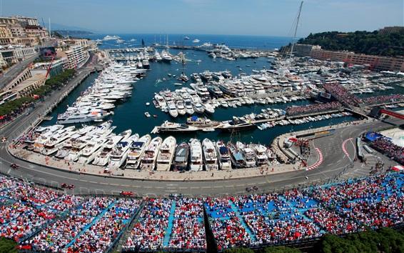 Wallpaper Monaco, Monte-Carlo, city, Formula 1, racing, yachts, boats, dock