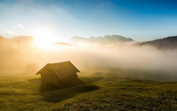 Wallpaper Morning, house, fog, grass, sunrise