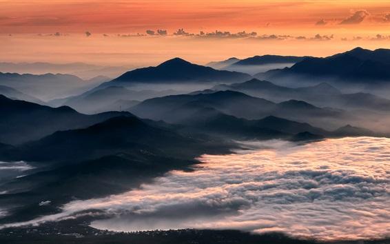 Обои Утро, горы, туман, восход солнца, облака