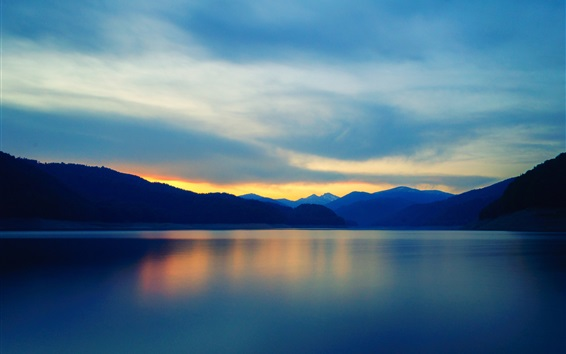 Wallpaper Mountains, lake, water reflection, clouds, sky, sunset