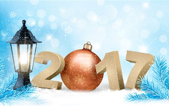 Wallpaper New Year 2017, spruce twigs, snowflakes, winter, vector