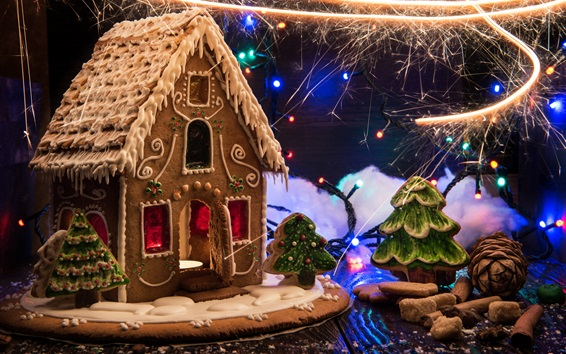Fond d'écran Nouvel An, nourriture de Noël, maison de biscuits, feux d'artifice