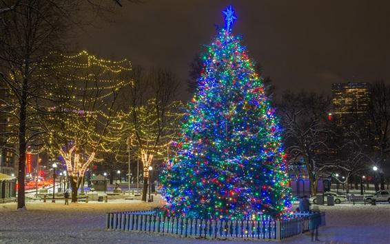 Fond d'écran Nouvel An, arbre de Noël, lumières, nuit, hiver, neige, ville