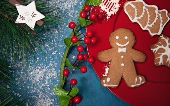 Fondos de pantalla Año Nuevo, ramitas de agujas, bayas, galletas, tema de Navidad