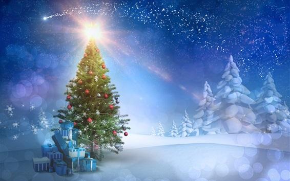 Wallpaper New Year theme, Christmas tree, gifts, snow, sunset, sun rays