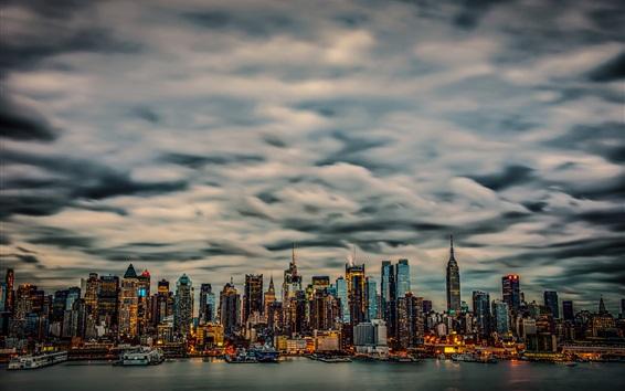 Wallpaper New York, Manhattan, USA, skyscrapers, clouds, night, yachts, lights, bay