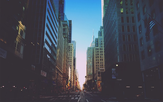 Wallpaper New York, city, road, traffic, buildings, dusk, USA