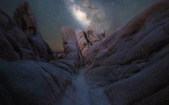 Fondos de pantalla Noche, vía láctea, estrellas, piedras, Parque Nacional Joshua Tree, América