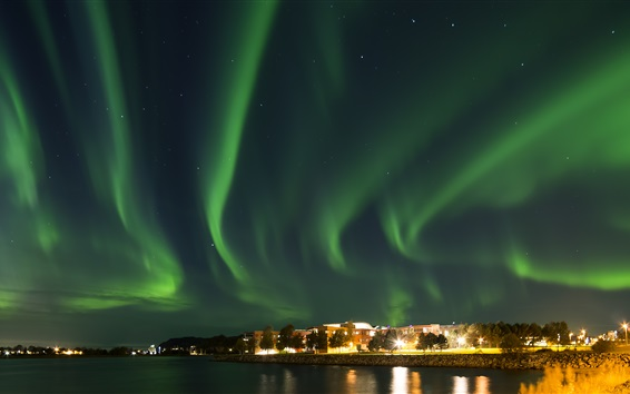Wallpaper Northern lights, Norway, city night, river, houses, stars