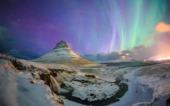 Fond d'écran Nord, lumières, étoiles, ciel, nuit, Kirkjufell, montagne, Islande