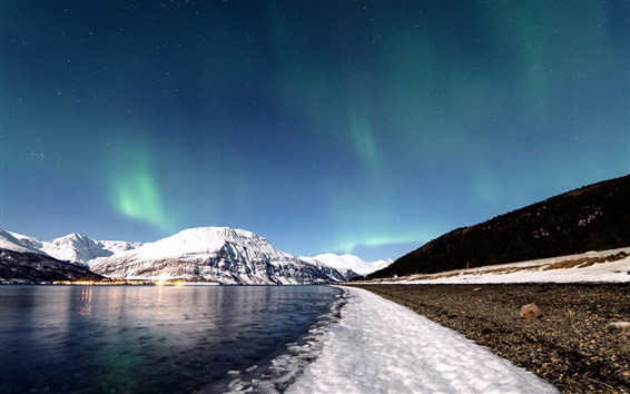 Wallpaper Norway, winter, snow, mountains, river, sky, northern lights, stars