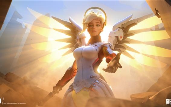 Wallpaper Overwatch, Blizzard games, girl, wings
