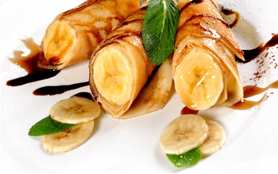 Papéis de Parede Panquecas, banana, hortelã, comida deliciosa