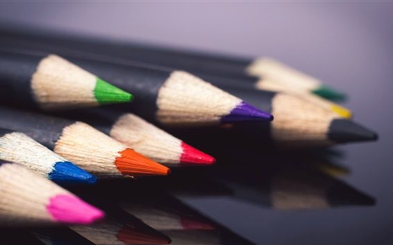 Wallpaper Pencils, colors, still life macro photography