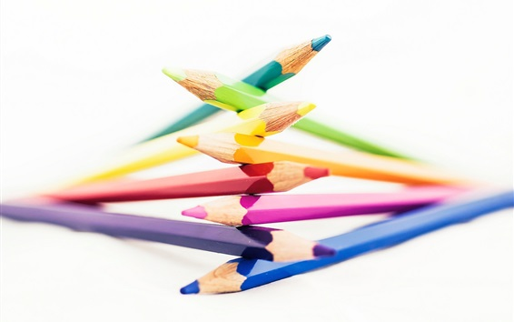 Wallpaper Pencils, rainbow colors, white background