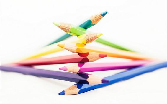 Обои Карандаши, цвета радуги, на белом фоне