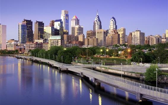 Fond d'écran Philadelphie, Etats-Unis, gratte-ciel, pont, lac, ville