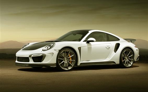 Fond d'écran Porsche 911 GTR supercar blanc