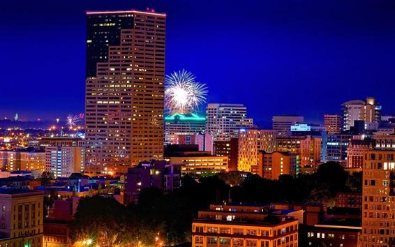 Papéis de Parede Portland, Oregon, fogos artifício, cidade, noite, luzes, edifícios, EUA