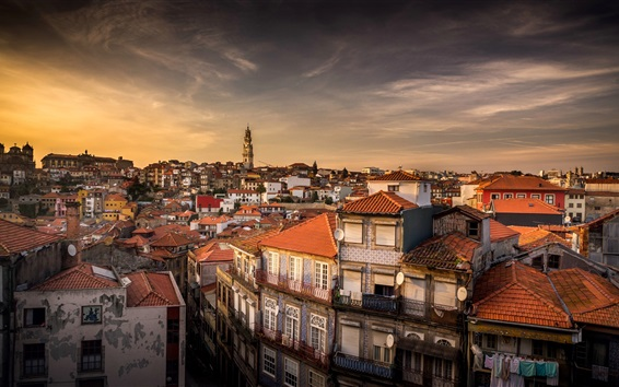 Wallpaper Portugal, city, houses, dusk
