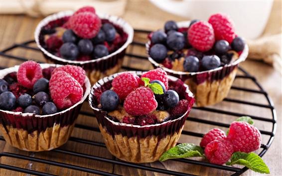 Wallpaper Raspberry, blueberries, cakes
