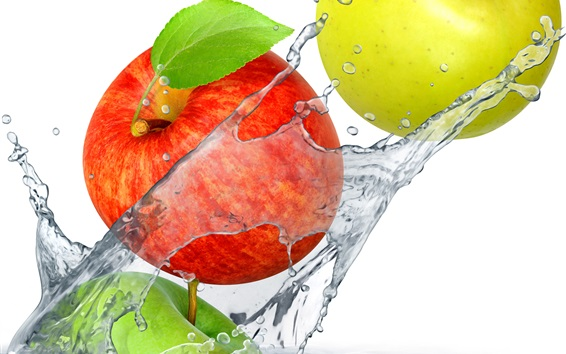 Wallpaper Red and green apples falling in water