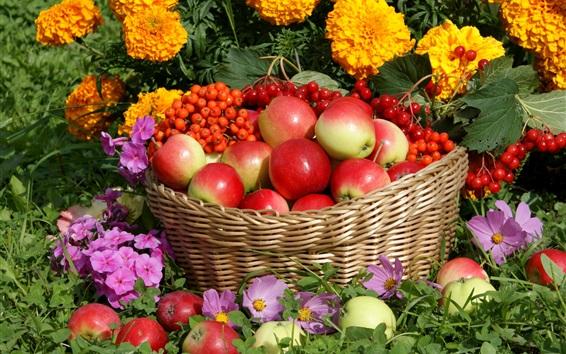 Wallpaper Red apples, berries, basket, flowers