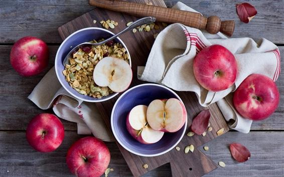 Обои Красные яблоки, мюсли, фрукты и продукты питания
