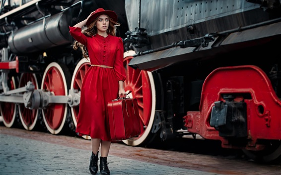 Wallpaper Red dress girl, hat, suitcase, tours, train