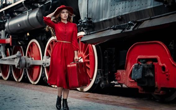 Fond d'écran Rouge, robe, girl, chapeau, valise, tours, train