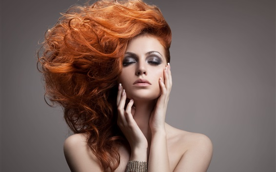 Wallpaper Red hair sexy fashion girl, makeup, hair style