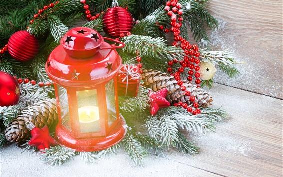 Wallpaper Red lantern, gift, twigs, snow, Christmas theme