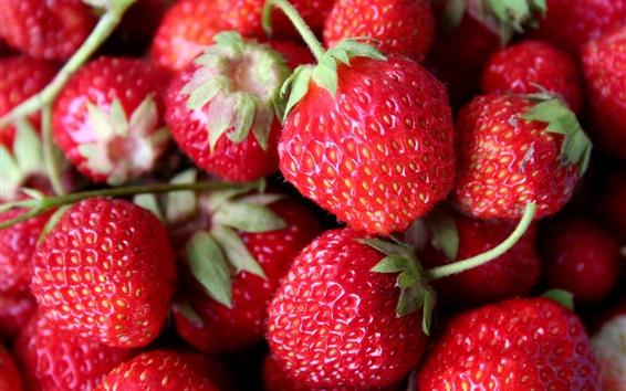 Wallpaper Red strawberries, juicy fruits