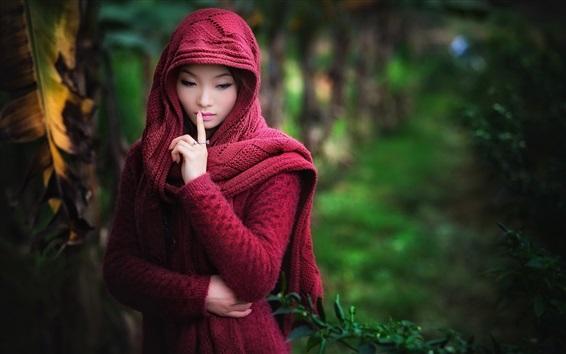 Wallpaper Red sweater dress Asian girl