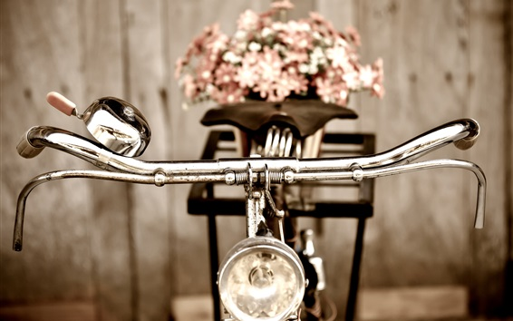 Wallpaper Retro bike, flowers