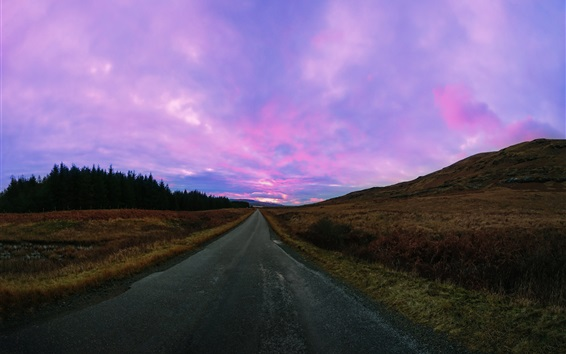 Wallpaper Road, purple sky, clouds, sunset