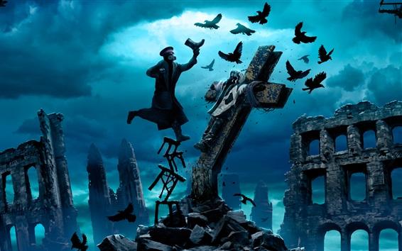 Papéis de Parede Romantically Apocalyptic, corvos, ruínas, crucificação, capitão, arte da fantasia