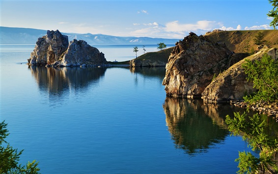 Wallpaper Russia nature landscape, Baikal, lake, rocks