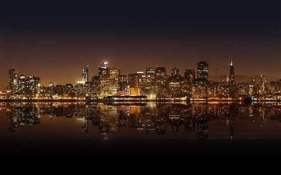 Wallpaper San Francisco beautiful city night, skyscrapers, lights, water reflection