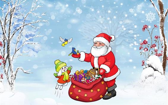 Wallpaper Santa Claus, bunny, birds, bag, gifts, trees, snow, winter, Christmas theme art