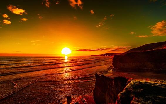 Fond d'écran Mer, coucher soleil, rouge, ciel, côte, crépuscule