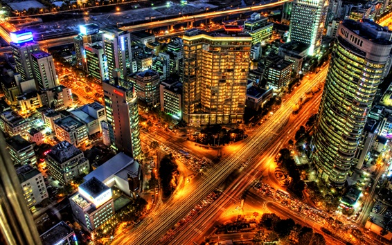 Fond d'écran Séoul, Corée, ville, gratte-ciel, routes, lumières, nuit