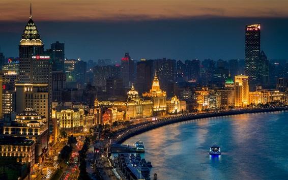 Wallpaper Shanghai city at night, skyscrapers, lights, river